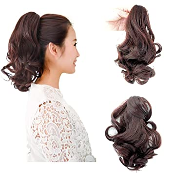 Amazon Com Beauty Angelbella Curly Ponytail Extension 14 Inch Synthetic Short Curly Wave Claw Clip Ponytail Hairpieces For Women Dark Brown Beauty
