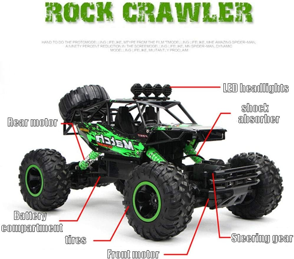 URVP Super-Large Alloy RC Crawlers Buggy Mountain Bigfoot Rock Truck 1//16 Model 2.4Ghz 100M Racing Speed rc car 4WD High Speed Off Road Toy Vehicle Remote Control car for Boys 4-7