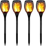 Gold Armour Solar Lights Outdoor Upgraded - Flickering Flames Torch Lights Solar Light - Dancing Flame Lighting 96 LED Dusk to Dawn Flickering Tiki Torches Outdoor Waterproof Garden (4Pack)