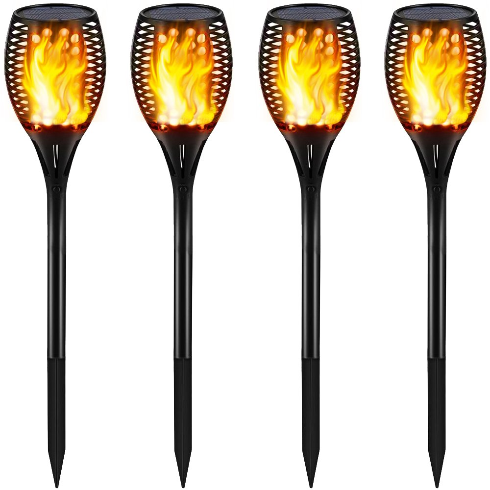 Gold Armour Solar Lights Outdoor - Flickering Flames Torch Lights Solar Light - Dancing Flame Lighting 96 LED Dusk to Dawn Flickering Tiki Torches Outdoor Waterproof Garden (4Pack)