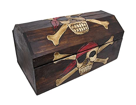 Superieur Wooden Pirate Skull Treasure Chest Storage Box