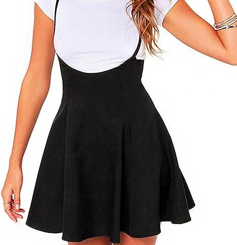 Yying Mujer Mini Falda Faldas Plisadas Negras A Línea Falda de ...