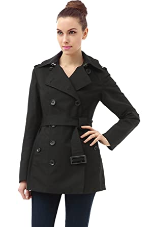 7406af2120 Amazon.com: BGSD Women's Evelyn Classic Hooded Short Trench Coat ...