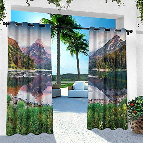 leinuoyi Landscape, Outdoor Curtain Pole, Swiss Lake Obersee Near Nafels Village Switzerland Europe Scenic Summer Sunrise, for Patio Waterproof W96 x L108 Inch Multicolor