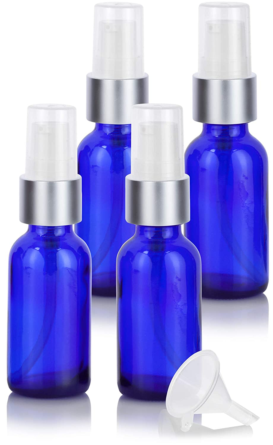 Cobalt Blue Glass Boston Round Silver and White Treatment Pump Bottle – 1 oz 4 Pack Funnel