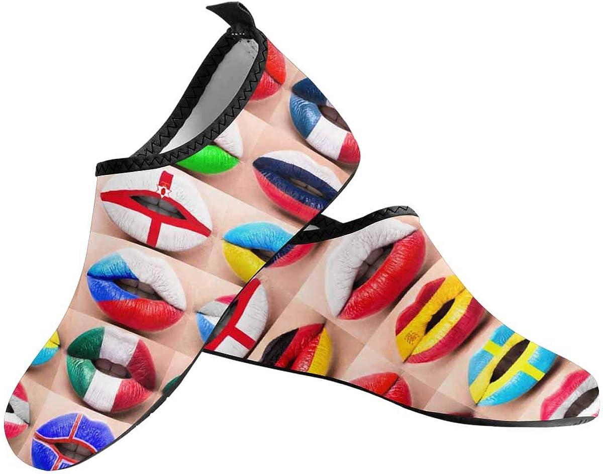 INTERESTPRINT Mens Quick Dry Barefoot Aqua Shoes Female Lips Flags Barefoot Water Shoes