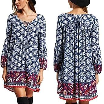 Women Dress,Haoricu Autumn Women Ladies Bohemian Printing Dress National Wind Bandage Beach Dress (S, Blue)