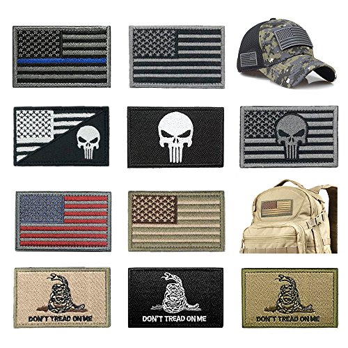 Purchase Bundle 10 Pieces US Flag Patch American Flag Punisher Patches Tactical Military Morale Patc...