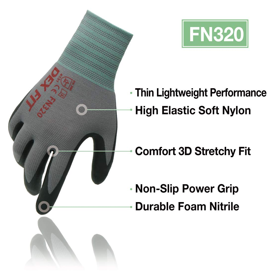 Lavable /à la machine Comfort 3D Stretchy Fit Rev/êtement en mousse durable Power Grip Smart Touch DEX FIT Gants de travail nitrile l/égers FN330 Gris Noir Petit 12 Paires