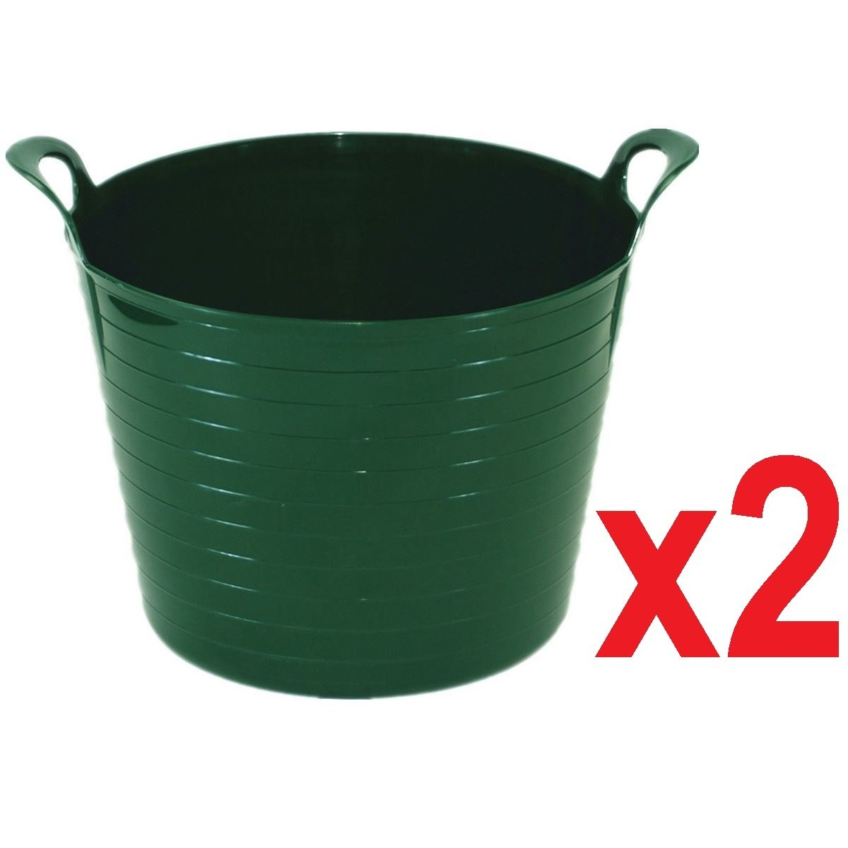2 x GREEN 42 Litre Large Flexi Tub Garden Home Flexible Colour Rubber Storage Container Bucket Polyethylene Flex Tub - MADE IN U.K. UK