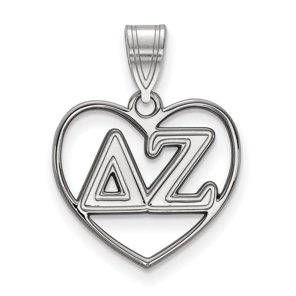 Sterling Silver Sterling Silver Rh-plated LogoArt Delta Zeta Heart Pendant