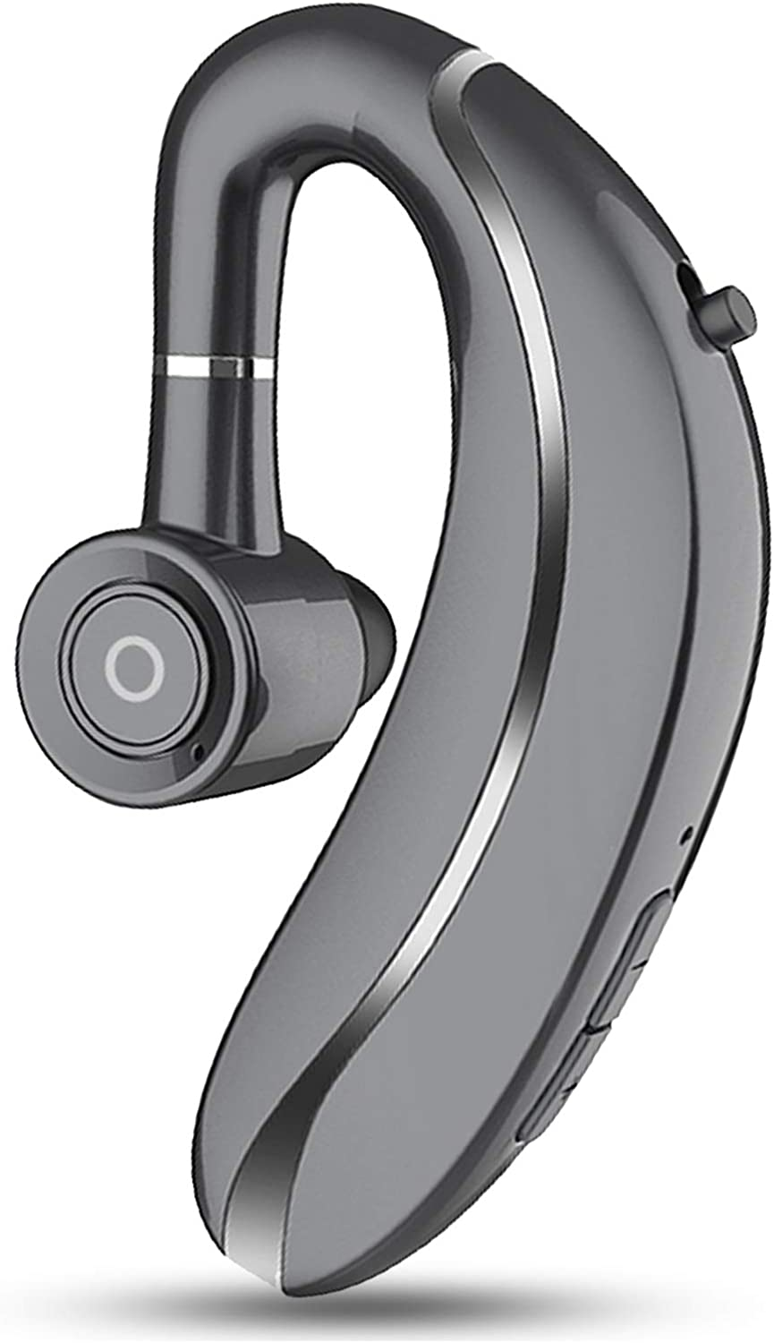 Wireless Bluetooth Headset Earpiece 5.0 Handsfree Earphone 20 Hours Playtime Noise Cancelling Earbud with Mic Compatible Left or Right Ear Cell Phones Android iPhone Car Trucker Driver Office (Grey)