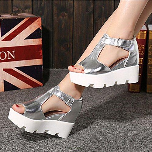 Chaussures 021 Argent pour Wedge Couleur Femme Sandales YG zZFqRU