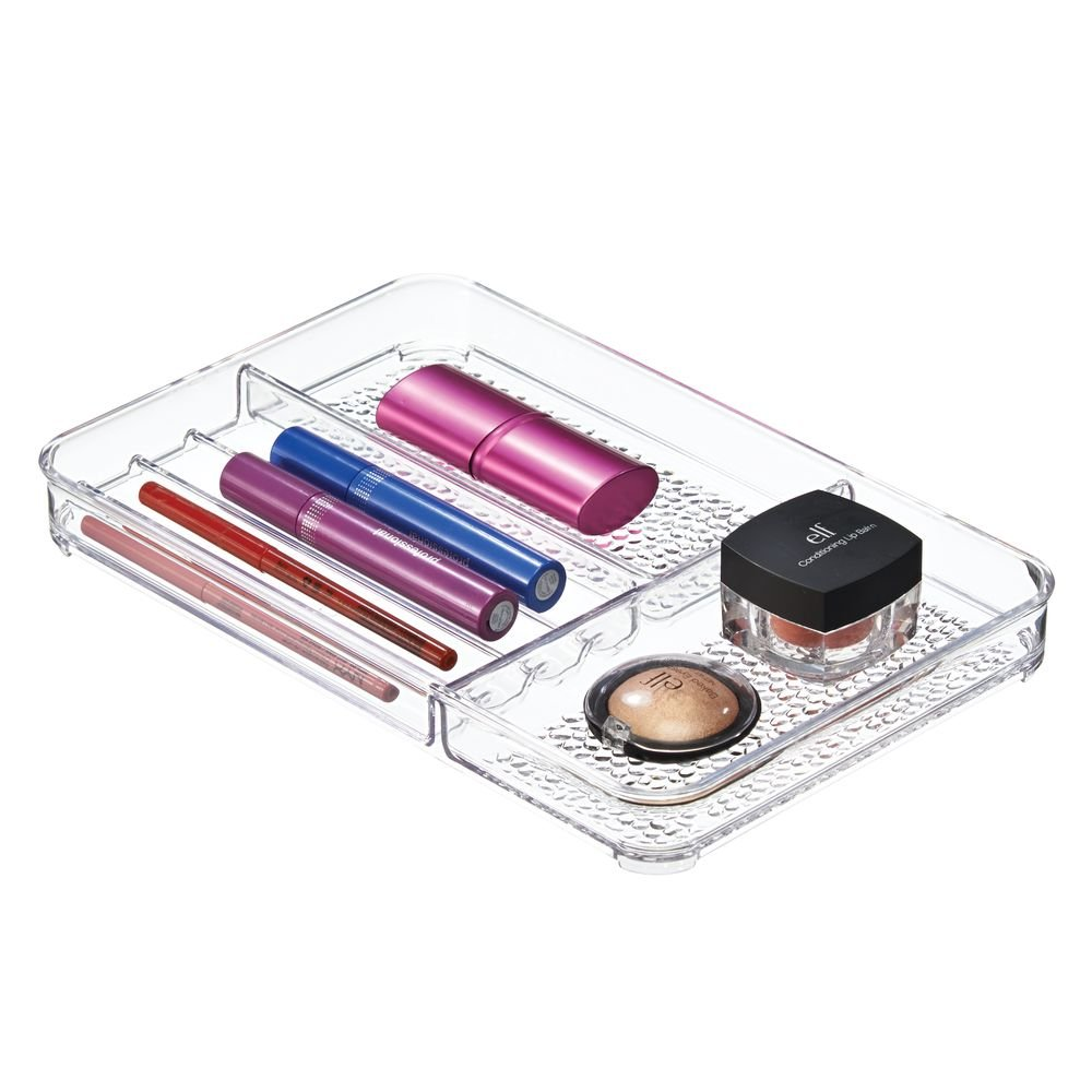 InterDesign Rain Cosmetic Organizer Tray for Vanity Cabinet to Hold Makeup, Beauty Products - Medium, Clear with Palette Organizer and Cosmetic Organizer (3 Piece Cosmetic Organization Bundle)