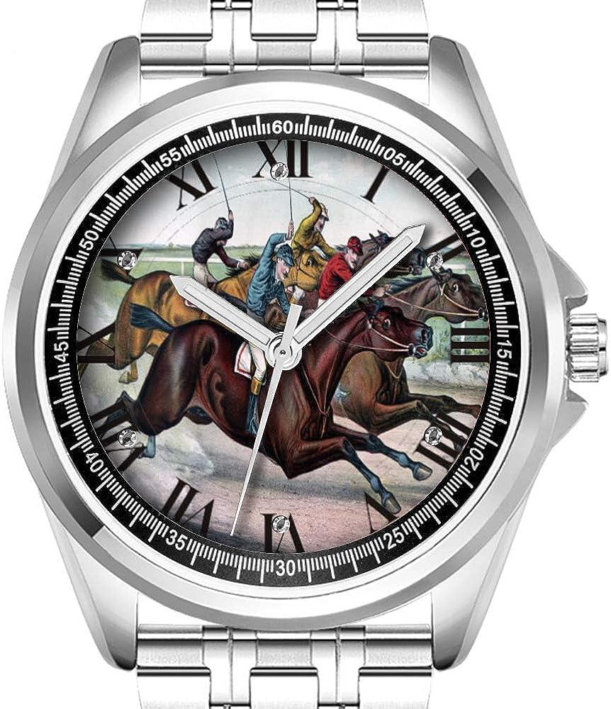 Reloj de Pulsera Personalizado para Hombre, a la Moda, Resistente al Agua, Diamante, 124, Carrera de Caballos arábigos