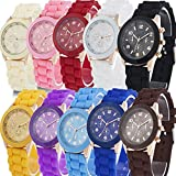 Yunan Wholesale Lot of 10 Pack Assorted Silicone Watch Geneva's Women Men Unisex Jelly Watch