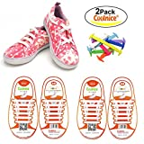 COOLNICE No Tie Shoelaces for Kids Funny DIY - Elastic Stretch Waterproof Silicone Wipe Clean-Running Shoe Laces with Multicolor for Sneaker Boots Board Shoes and Casual Shoes - 2 Pack