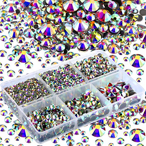 4000 Pieces Mixed Size Hot Fix Round Crystals Gems Glass Stones Hotfix Flat Back Rhinestones (Crystal AB)