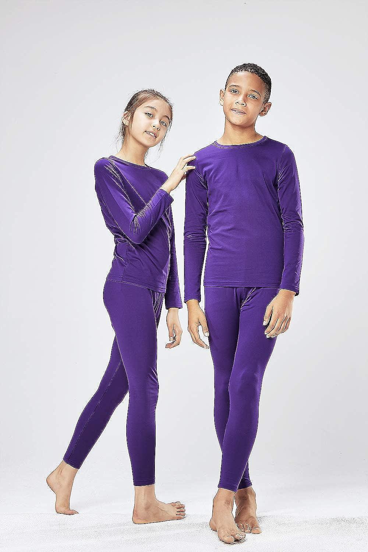 DEVOPS Boys /& Girls Thermal Heat-Chain Microfiber Fleece Underwear Baselayer Top /& Bottom Set