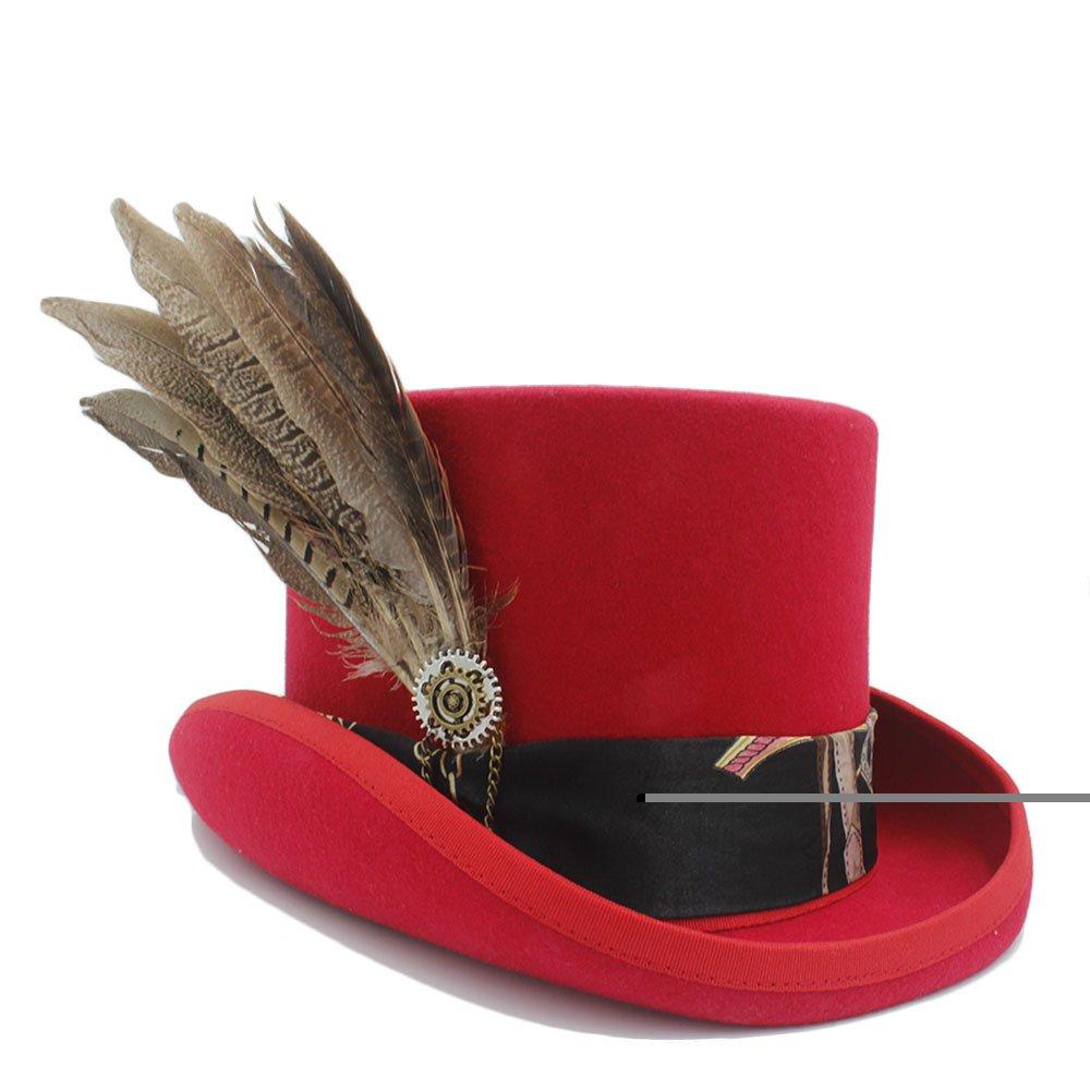 MUMUWU Women Top Hats Fodora Steampunk Hat with Gear Wheel Top Hat (Color : 2, Size : 61cm)