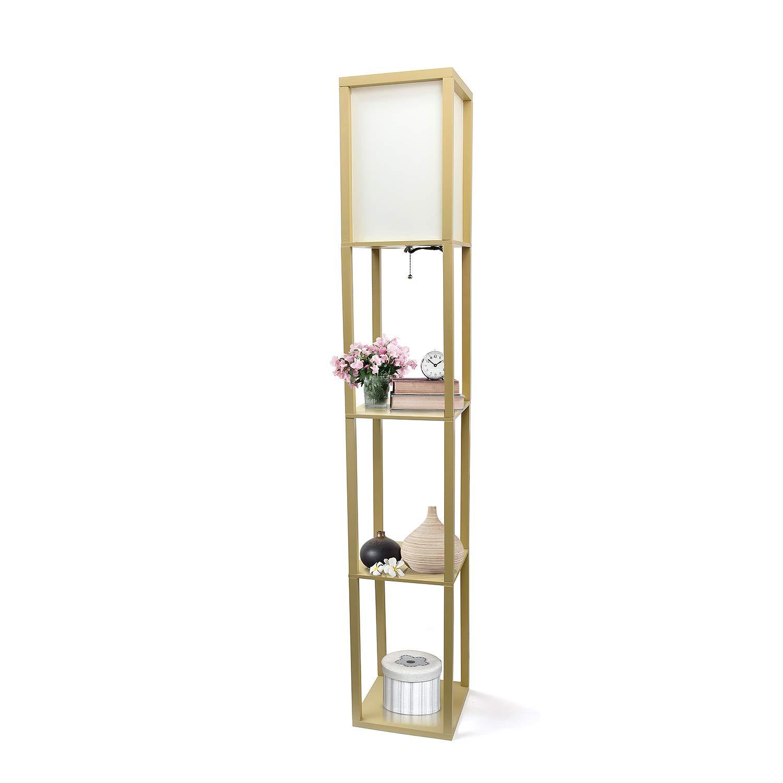 Simple Designs Home LF1014-TAN Etagere Organizer Storage Shelf Floor Lamp with Linen Shade, Tan