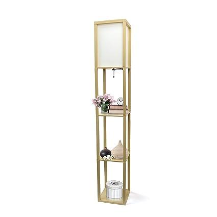 Charmant Simple Designs Home LF1014 TAN Floor Lamp Organizer Storage Shelf With  Linen Shade, Tan