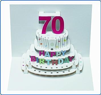 Pop Up 3d Karte Geburtstagskarte 70 Geburtstag Gutschein Torte