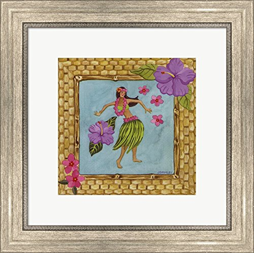 Tiki Girl III by Jennifer Brinley Framed Art Print Wall Picture, Silver Scoop Frame, 16 x 16 inches