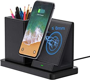 Pen Desk Organizer Wireless Charger, Pencil Phone Stand Holder Wireless Charging Station, USB C Desktop Wireless Charging Stand for iPhone for Samsung Galaxy Fast Charger (with AC Adapter) - Black