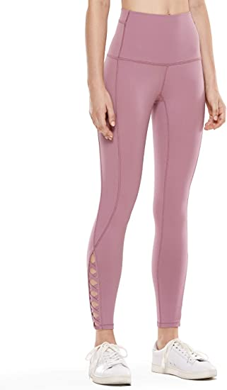 CRZ YOGA Mujer Yoga Fitness Pantalon de Cintura Alta 7/8 Leggings con Bolsillos