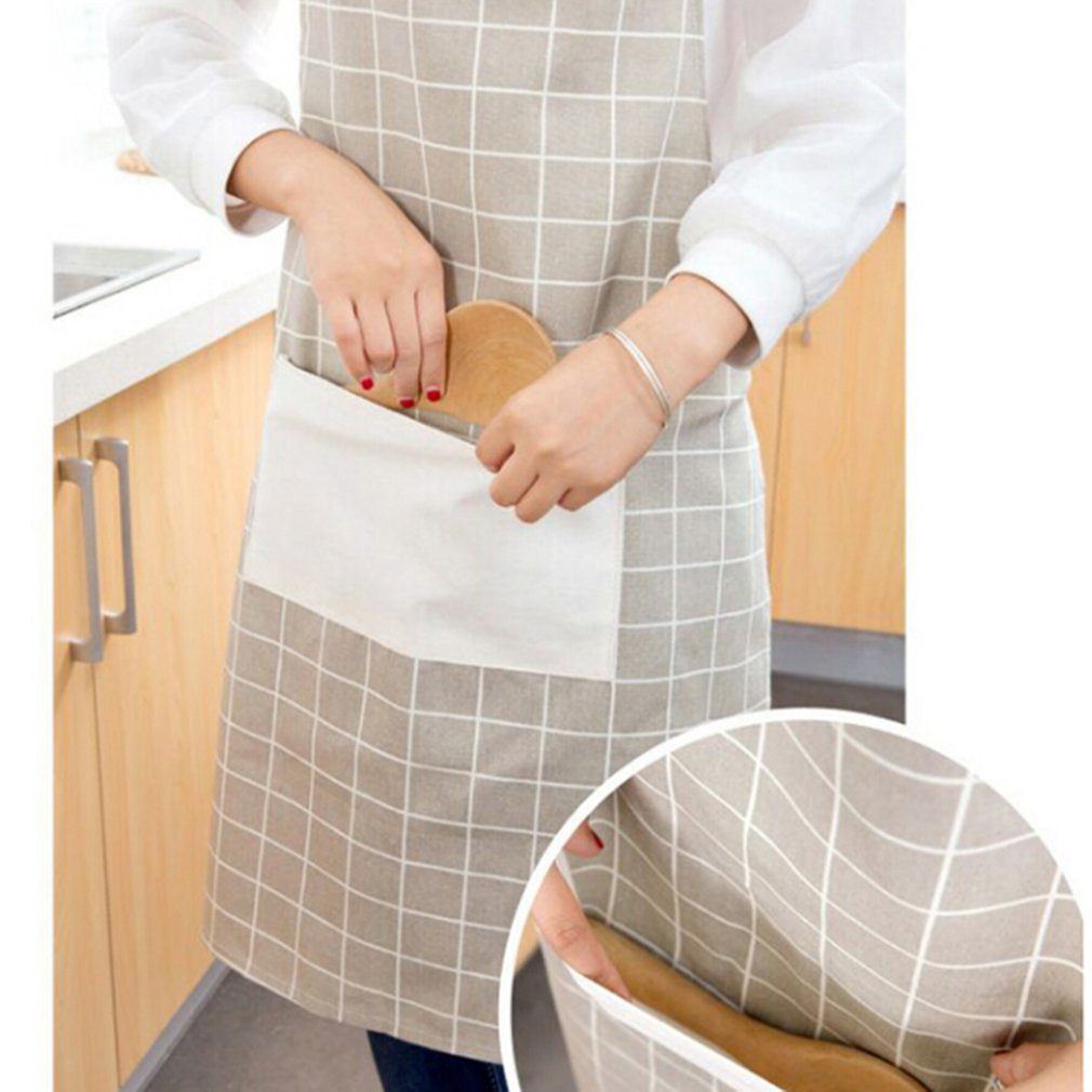 LnLyin Cotton Linen Women's Apron with Convenient Pocket Durable Stripe Kitchen and Cooking Apron for Women/Men Professional Stripe Chef Apron for Cooking, Grill and Baking,Multicolor,One Size