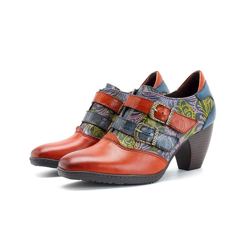 Hy Frauen Stiefelies Frühling/Herbst / Winter Leder handgemachte Splice Crafts Mode Stiefel/Damen High Heel Schuhe/Casual Retro Single Schuhe Größe: 36-42 (Farbe : Braun, Größe : 48)