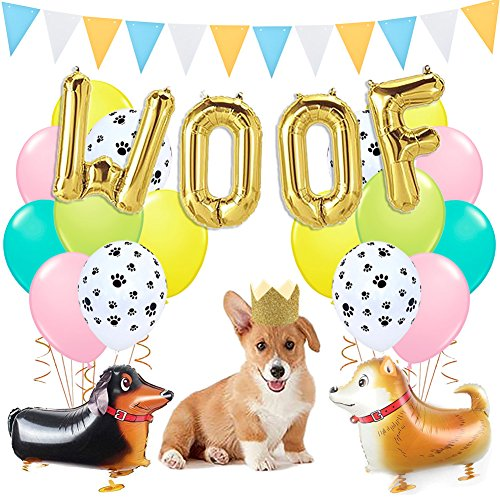 Dog Party Decorations Woof Dog Balloons Walking Dog Balloons Dog Party Hats for Puppy Dog Birthday Pet Theme Baby Shower Birthday Party Supplies by LUCK COLLECTION