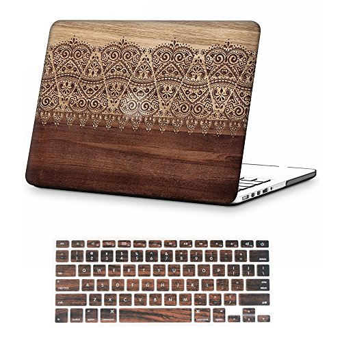 iCasso Macbook Retina 15 Inch Case Rubber Coated Soft Touch Hard Shell Protective Cover For Macbook Pro 15 Inch Retina (No CD-ROM )Model A1398 With Keyboard Cover-Wood Lace