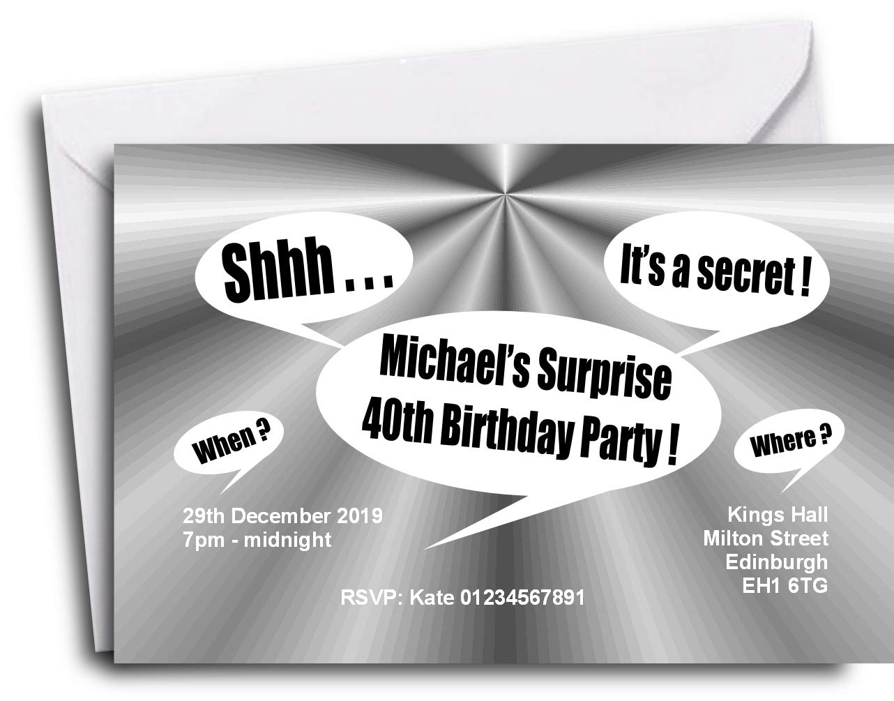 The Save the Date People 40 PERSONALISED SURPRISE PARTY INVITATIONS ...