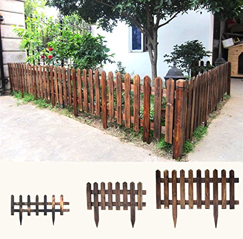 Solid wood fence,Wooden safety garden netting carbonized garden fence wooden guardrail telescopic fence-H 122x90cm(48x35inch)