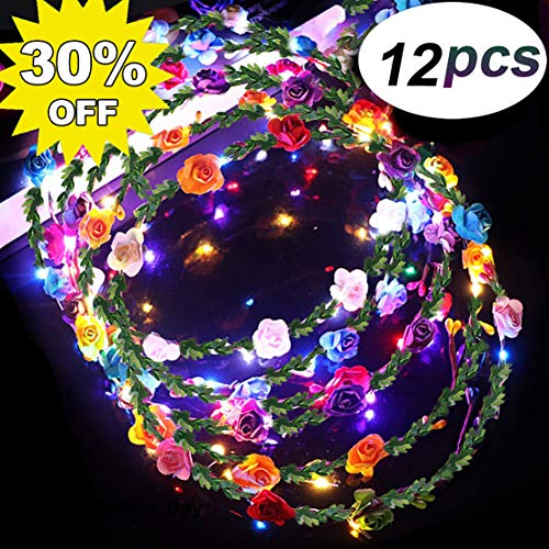 LED Flower Crown Glow in The Dark Party Favors, 12 Pack Adjustable Flower Wreath Headband Luminous 10 LED Flower Headpiece Flower Headdress for Girls Women Wedding Holiday Gifts Dress Up Accessories (Light Decorations Valentines Up)