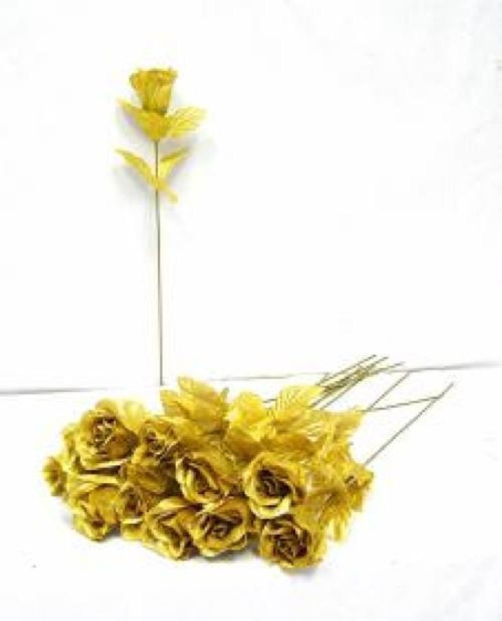 100 Gold Roses Single Long Stem Rose Buds Silk Wedding Bouquet Flowers Party by Dorigan Artificial Art Flowers