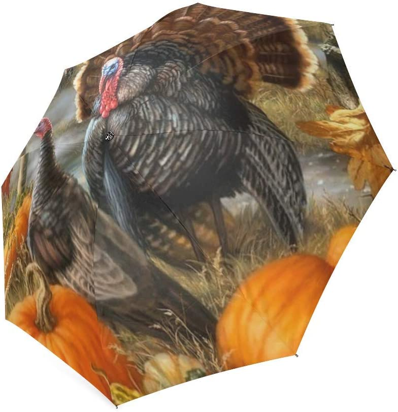 foldable Umbrella Custom Beautiful Leaves Turkeys Pumpkins Compact Travel Windproof Rainproof