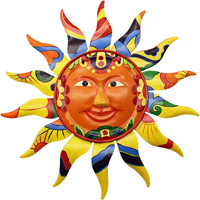 "Juegoal 12.7"" Metal Sun Wall Art Décor Hanging for Indoor Outdoor Home Garden"