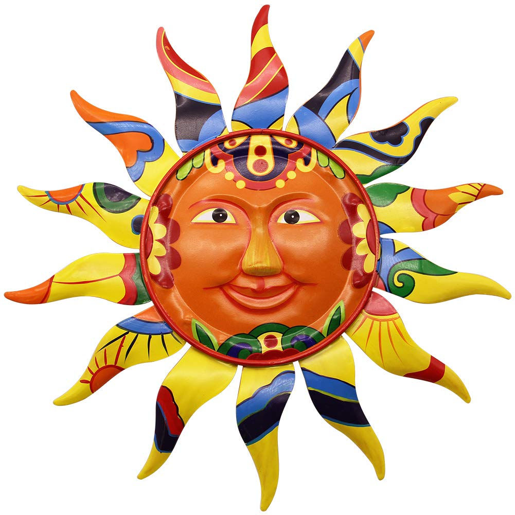 Juegoal 12.7'' Metal Sun Wall Art Décor Hanging for Indoor Outdoor Home Garden by Juegoal
