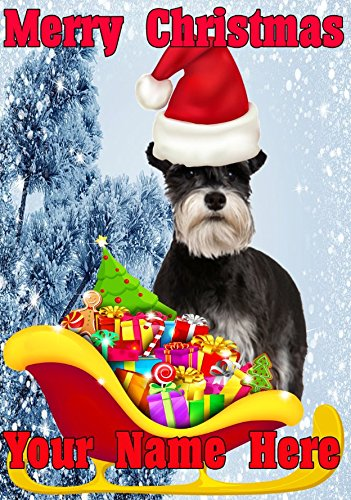 Miniature Schnauzer Dog Santa Sleigh nnc154 Humorous Christmas Xmas Card A5 Personalised Greeting Cards POSTED BY US GIFTS FOR ALL 2016 FROM DERBYSHIRE UK GIFTSFORALL