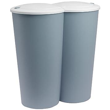 Deuba Mülleimer Duo Blau | 50L Abfalleimer Doppelmülleimer 2fach  Trennsystem 2x25L Druckknopf-Automatik | Küche Bad Büro