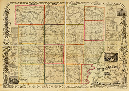 "Map Poster - Map of Wyoming County New York : from actual surveys / 9"" x 13"""