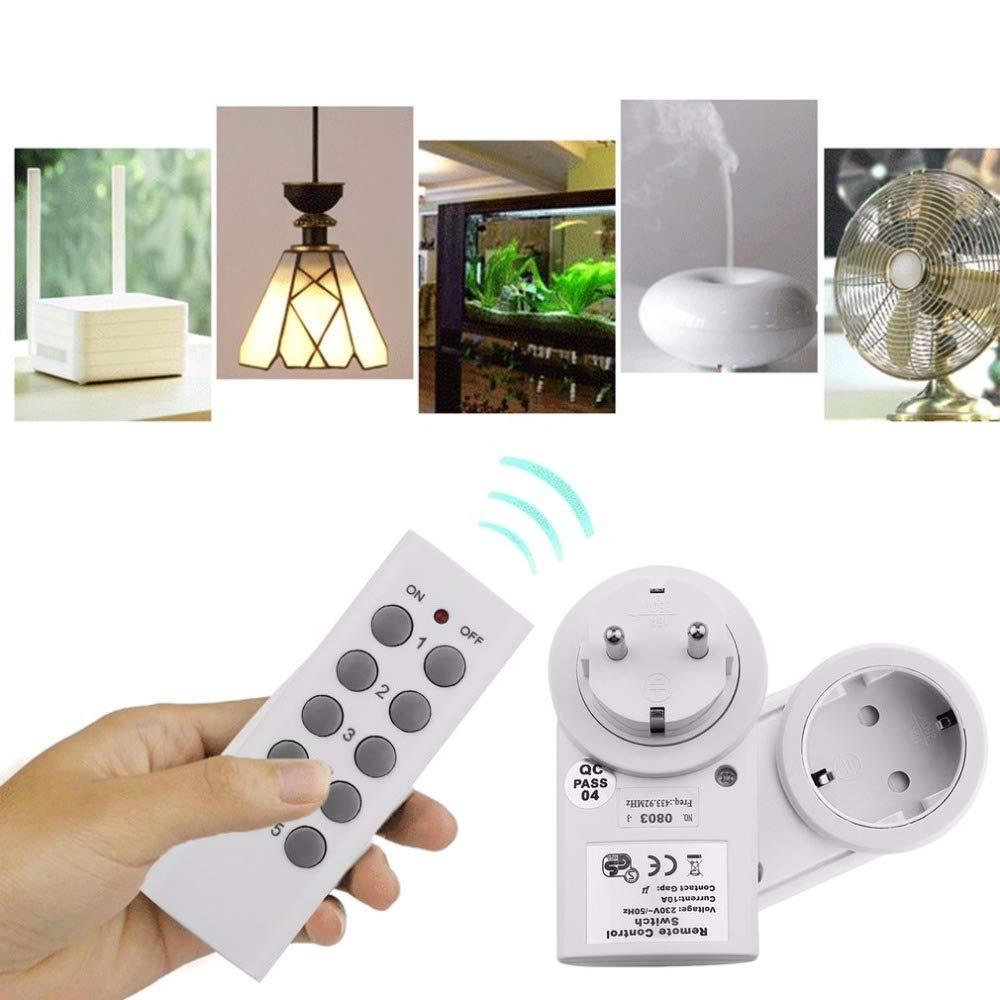Yuanbbo Kit de Salida de Control Remoto Interruptor de Luz Inal/ámbrico Ahorro de Energ/ía F/ácil de Operar para Electrodom/ésticos 1 Paquete Iluminaci/ón Y Equipo El/éctrico