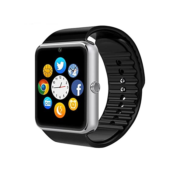 ZAOYIMALL Smartwatch GT08 Bluetooth Smart Watch with Camera SIM TF Card Call Sync Notification for Iphone and Android Smartphones (Silver)