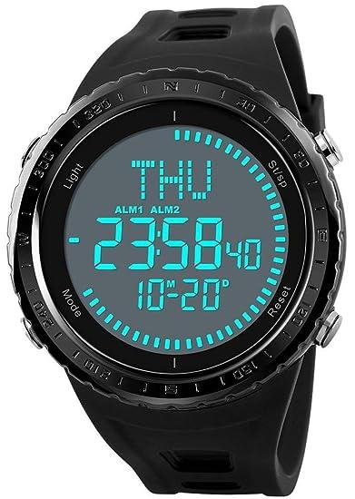 Relojes Digitales para Hombre de la brújula del Tiempo Mundial Relojes Deportivos para Hombre Negro a Prueba de Agua al Aire Libre de la Cuenta ...