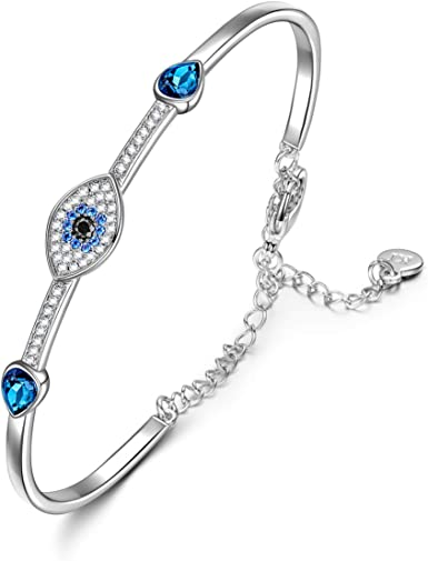 SIVERY Jewelry for Women 'Evil Eye' Bracelet Bangles with Crystals from  Swarovski, Pendant Necklaces for Women, Gifts for Mom, Bracelets for Her