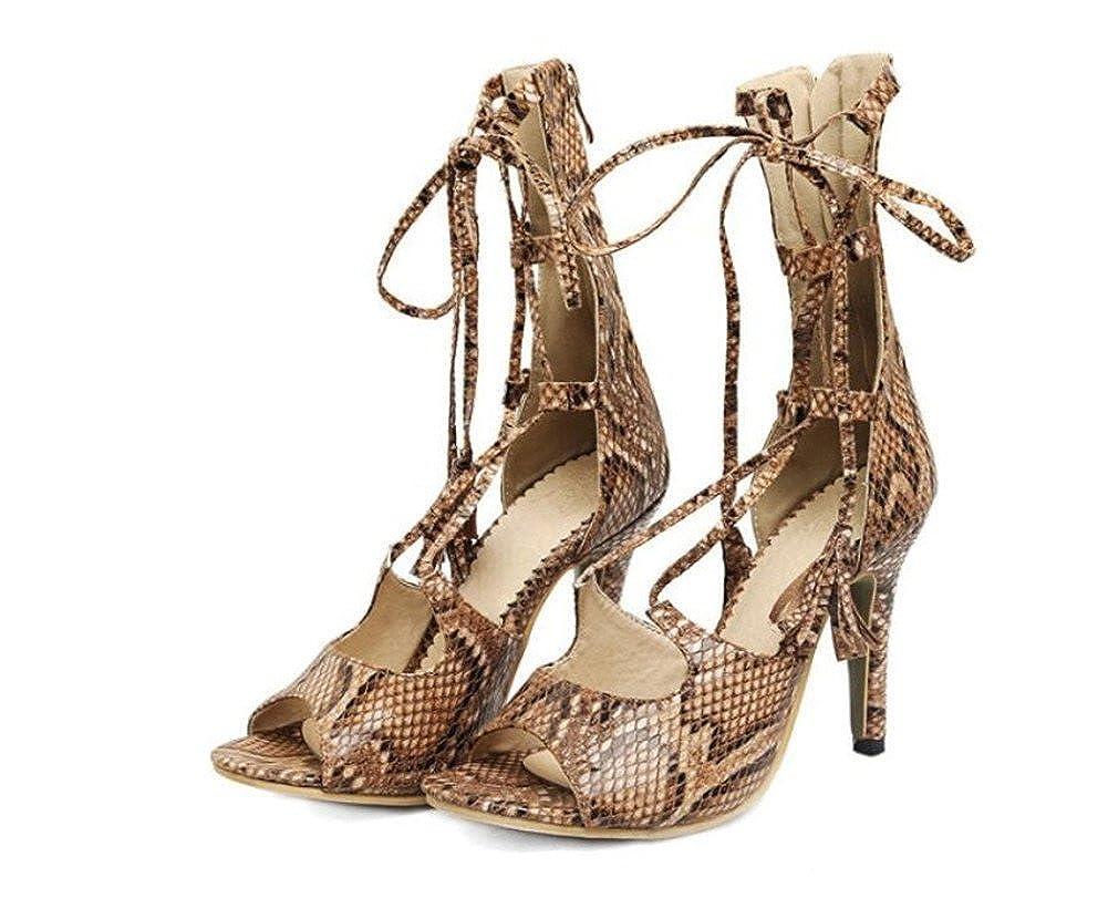 WEIQI-Damen Sandalen/Cool Stiefel/Schlange/Fisch Schnabel/Verband Quaste, Quaste, Schnabel/Verband Party/Täglich, 9cm, 34-41  Braun 438e54