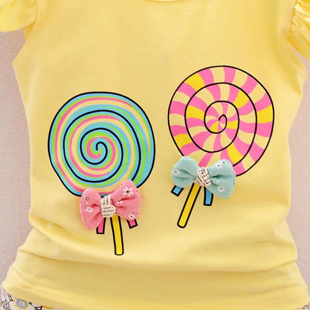 Jarsh 2Pcs//Set Cute Baby Girls Outfit Set Lolly Bowknot T-Shirt Tops+Short Pants Clothes Set